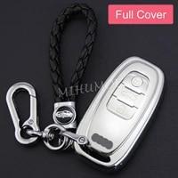 full car key cover fob chain ring case holder for audi q5 a4 b8 a5 a6 a7 a8 s4 s5 s6 s7 s8 sq5 accessories silver
