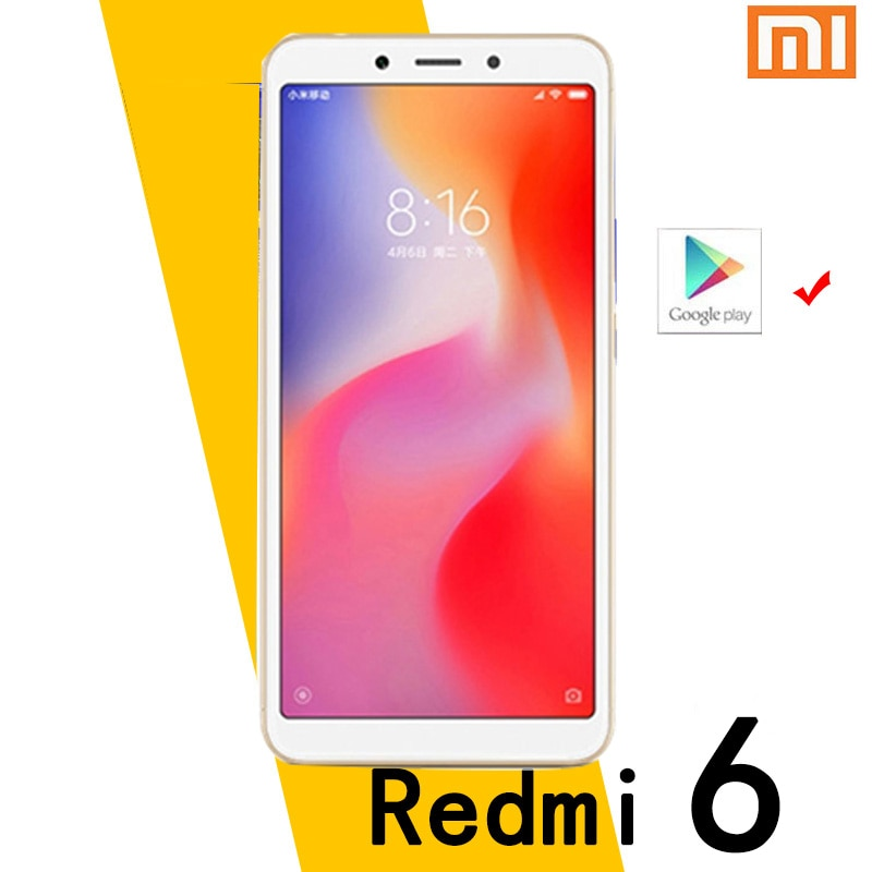 Xiaomi Redmi 6 smartphone googleplay android cellphone 4GB 64GB Face Unlocking MT6762 Helio P22