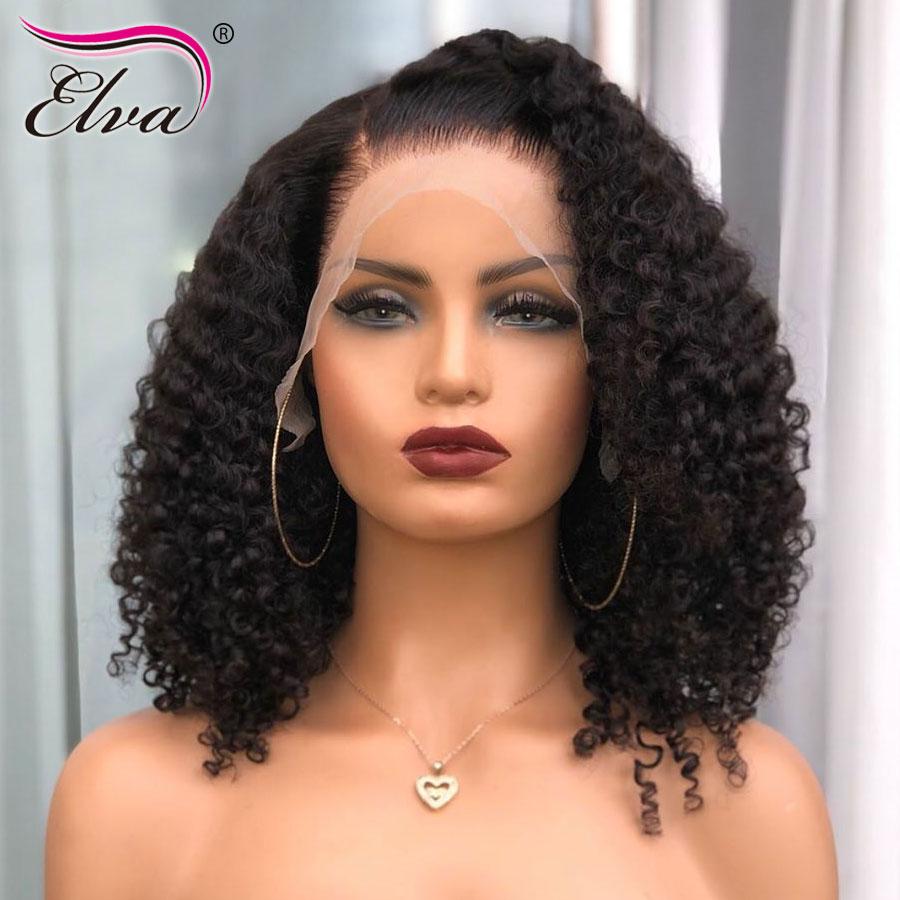 Peluca de pelo humano con corte Bob 13x6 para mujeres negras, pelucas de cabello humano con frente de encaje rizado, peluca corta de pelo Elva sin pegamento, prearrancada con pelo de bebé