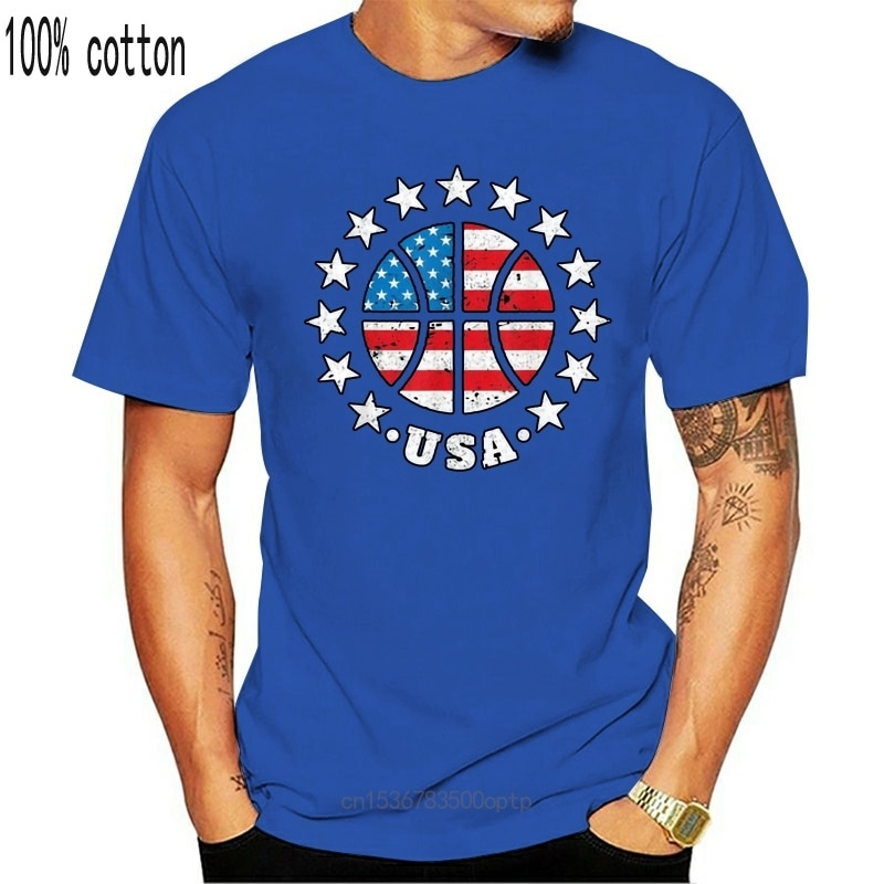 New Black Usa Basketball Flag 4Th Of July Independence Day Gift T-Shirt 100% Cotton Pure Cotton? Tee Shirt