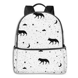 Sacos De Escola para Adolescentes mochila Bonito Lobo Negro Nuvem Lua Malas de Viagem Estilo Mochila Coreano Bonito Mochila