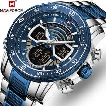 NAVIFORCE Fashion Dual display Blue Luxury Watch For Men Quartz Watches Military Sport Waterproof Ma