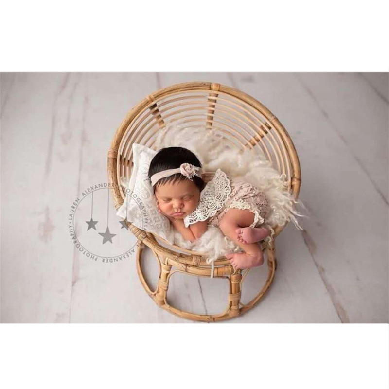 Newborn Photography Props Basket Handmade Vintage Bamboo Radar Chair Bed Baby Boy Picture Prop Photo Posing Accessories Infant enlarge