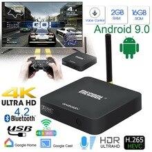 KM8 Android 9.0 Smart TV boîte Google commande vocale Amlogic S905X 2GB RAM 16GB ROM boîte Bluetooth décodeur