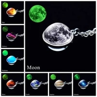 glow in the dark galaxy necklace planet pendant universe jewelry solar system moon earth double side glassball luminous necklace