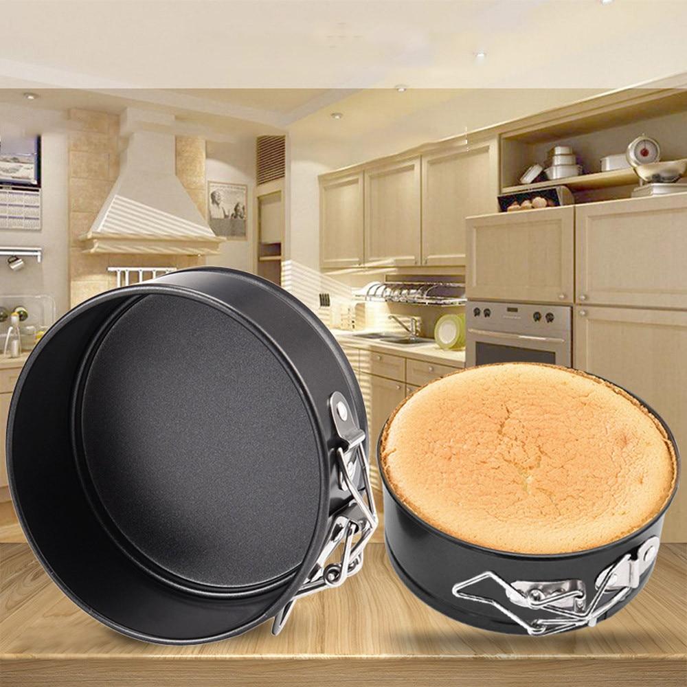 Alta calidad 1 piezas no-stick hebilla bandeja para hornear duradero Mini torta redonda estaño no palo de forma suelta bandeja Base para hornear
