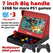 New JXD 7.0 inch Quad-core retro arcade game console big handle build in 9000 game arcade neogeo/cps/ps1/gbc/gb/sens/nes/smd mp4