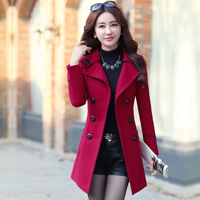 Casaco coreano moda de lã casaco feminino fino com cinto meidum longo casual 2019 nova primavera outono casacos femme casaco