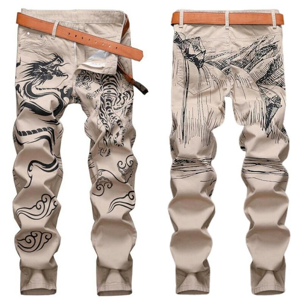 Мужские зауженные джинсовые брюки-джоггеры с принтом