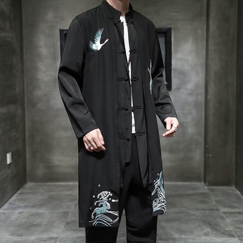 حجم كبير الرجال خندق معطف فضفاض أبلى رداء طويل اليابانية عارضة فضفاض كرين Embroried سترة طويلة الرجال الملابس اليابانية FF3229