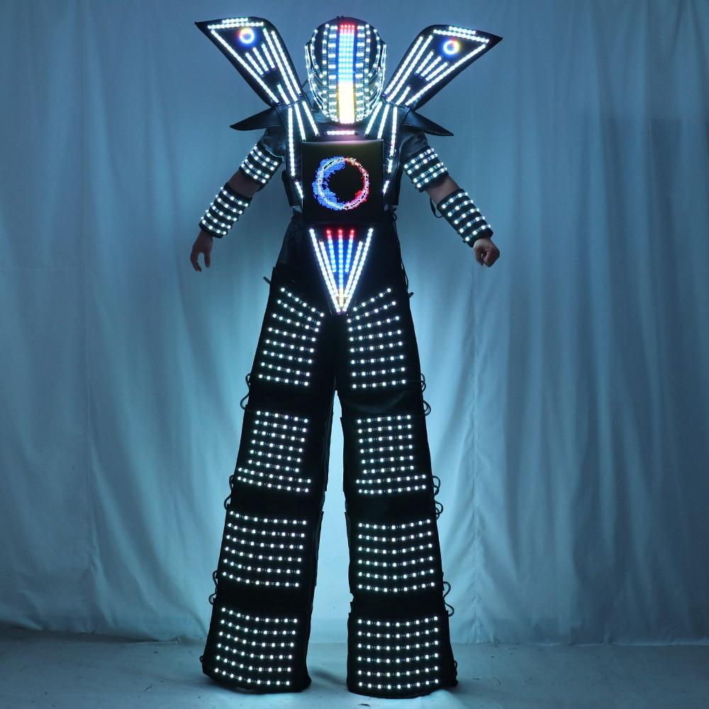 Traje LED Robot Costume Clothes Stilt Walking Luminous Suit Jacket chest display Helmet Laser Gloves