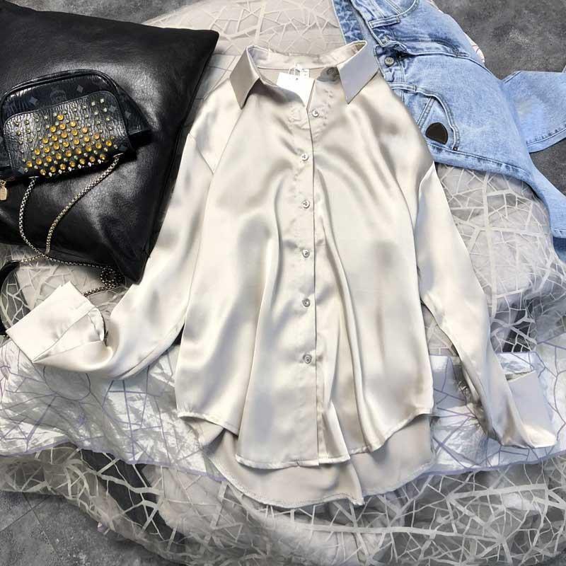 Spring 2021 Womens Clothing Silk Shirt Vintage Blouse Women Sheer Top Women Longsleeve Dress Shirt Plus Size Woman Overshirt