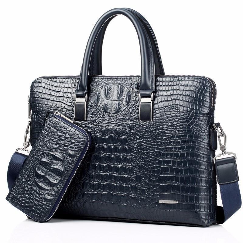 blue Crocodile Genuine Leather laptop Male Top-handle Men Messenger Bags Alligator Shoulder Tote Masculina vintage briefcase