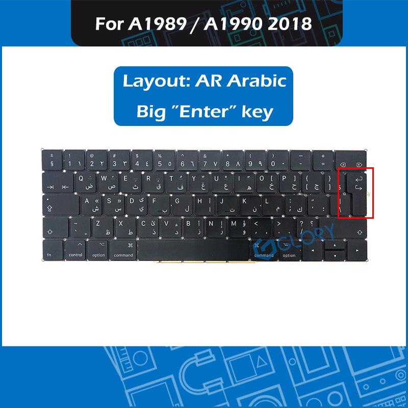 لوحة مفاتيح الكمبيوتر المحمول A1989 A1990 ، تخطيط عربي AR لجهاز Macbook Pro Retina 13