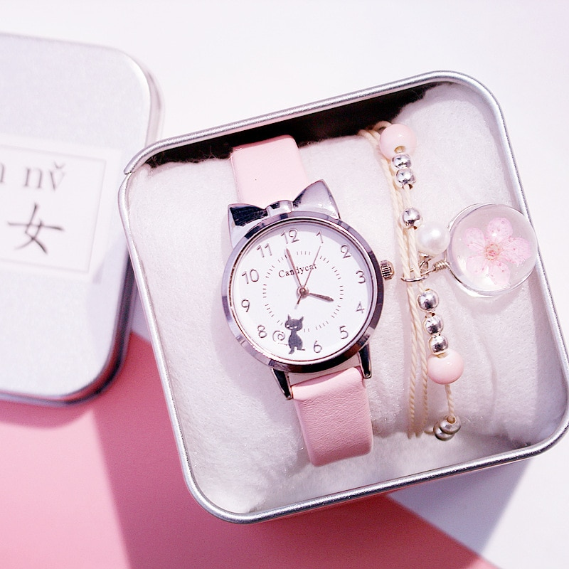 Miss Black Cat Watch Women Fashion Casual leather Strap watches Girls cute Cat Dial Shape Pink Wristwatch