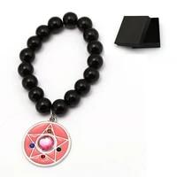new anime jewelry sailor moon beads bracelets charm bangle glass metal accessory cosplay for men women christmas gift chakra