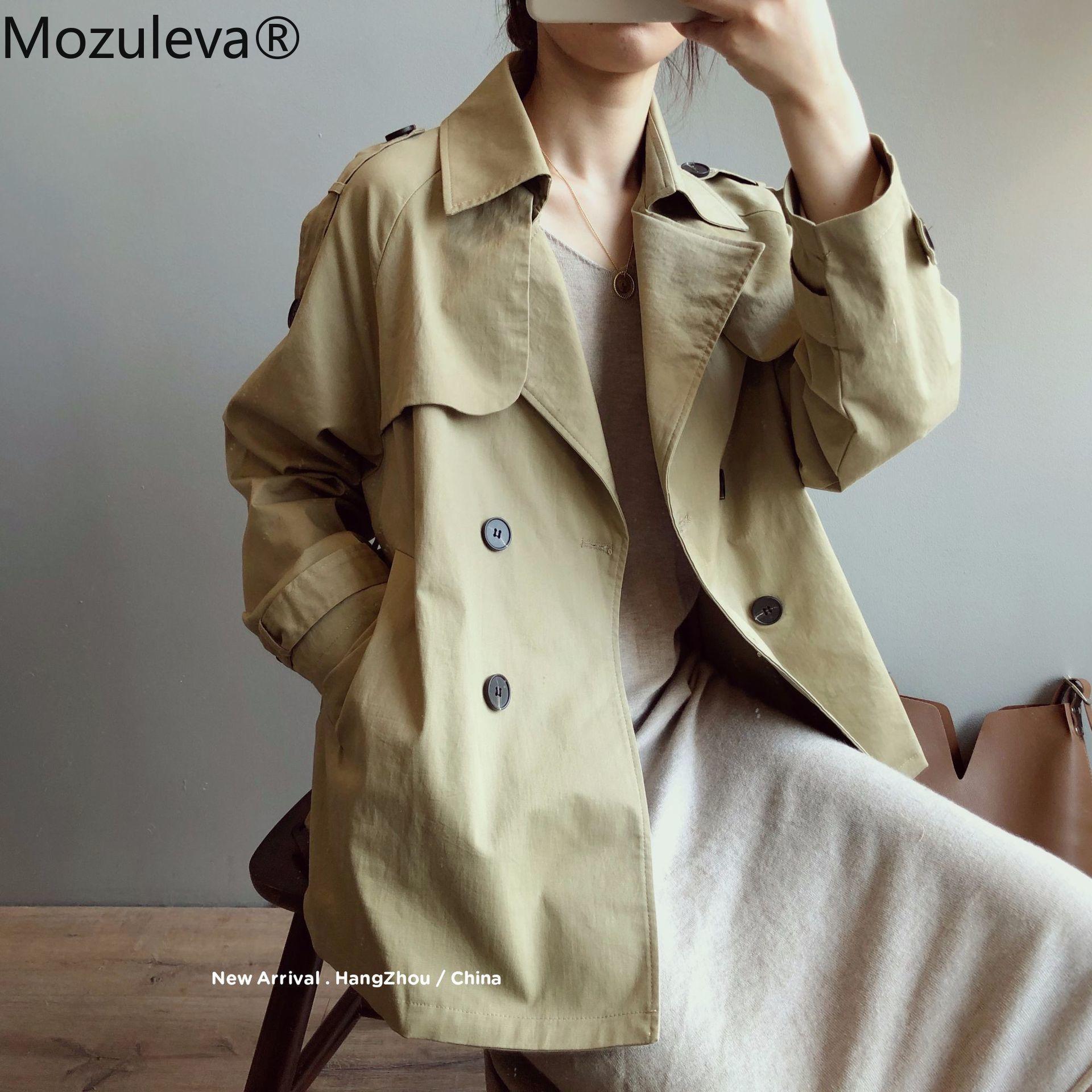 Mozuleva موضة خريف 2021 موديلات جديدة سترة واقية قصيرة للنساء بتصميم كوري معطف فضفاض ضيق بلون سادة وأكمام طويلة للنساء