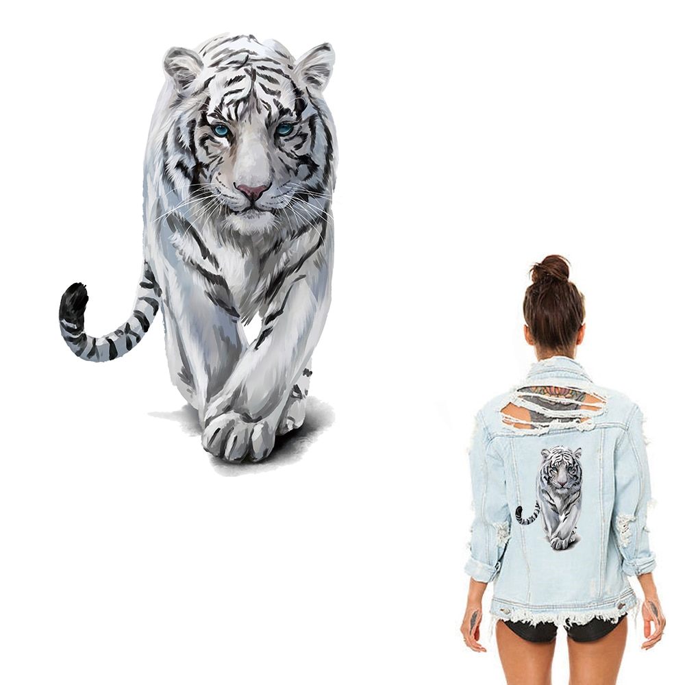 Наклейки для одежды XC с тигром, наклейки с теплопередачей, железные накладки для украшения одежды своими руками, аппликации для джинсов, пальто, футболок