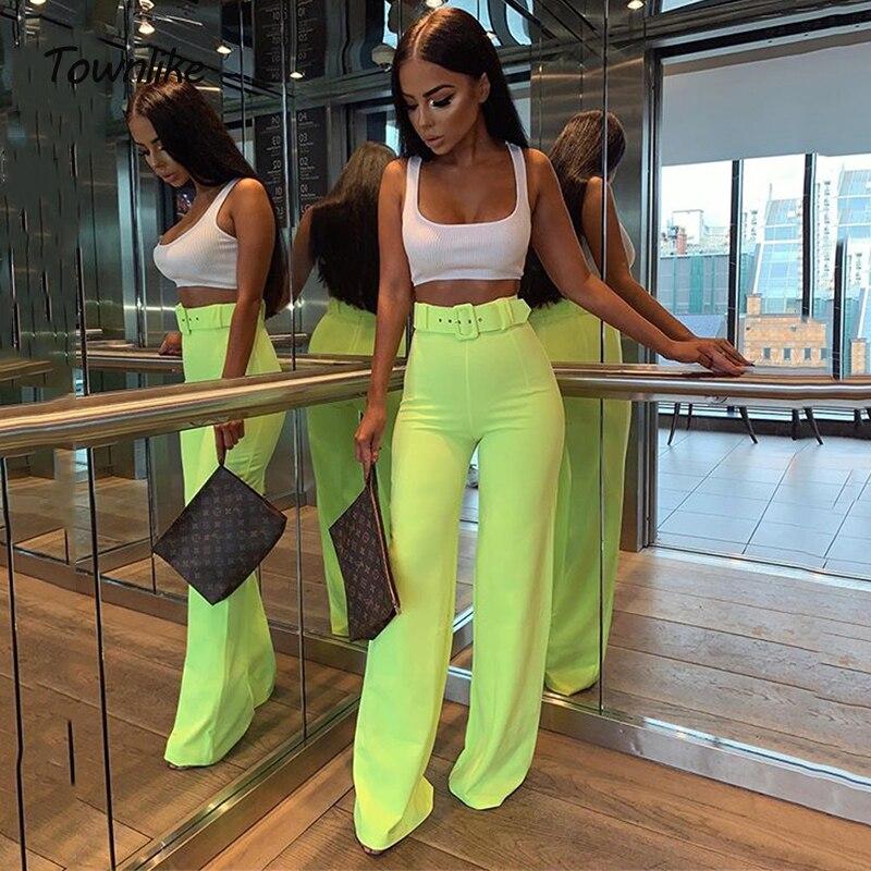 Townlike, verano 2020, pantalones de pierna ancha para mujer, cintura alta, informal Sexy fluorescente, pantalón para dama de neón