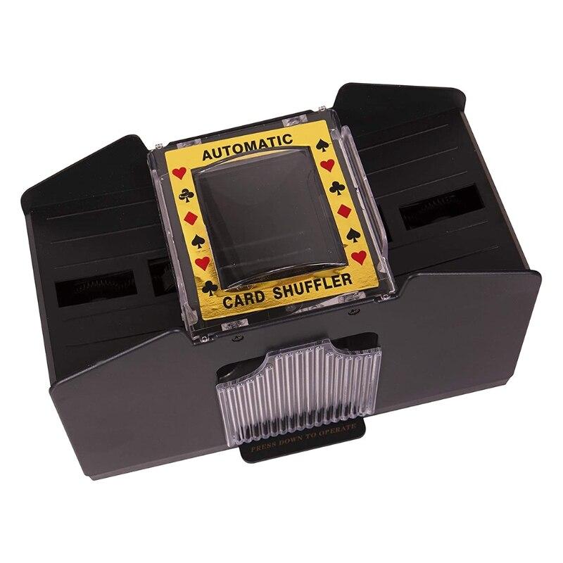 C5AA Automatic 1-4 Decks Card Shuffler Battery-Operated Electric Shuffler Machine Electronic Poker Equipment for Playing Bridge