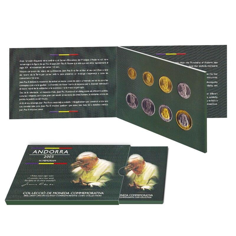 Monedas de 8 Uds de Andorra, moneda original del año 2005 con libro del Papa Juan Pablo II
