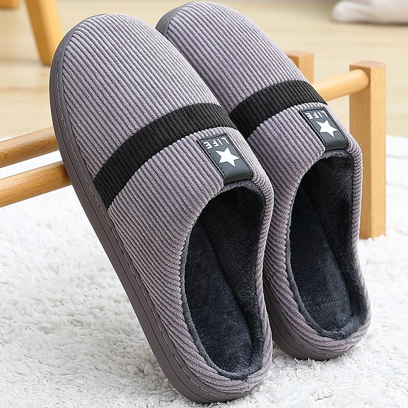 De gran tamaño 46-51 Zapatillas de casa hombres colores mezclados hombre zapatillas wram corta suave de peluche de felpa zapatos de interior plataforma zapatillas de hombre