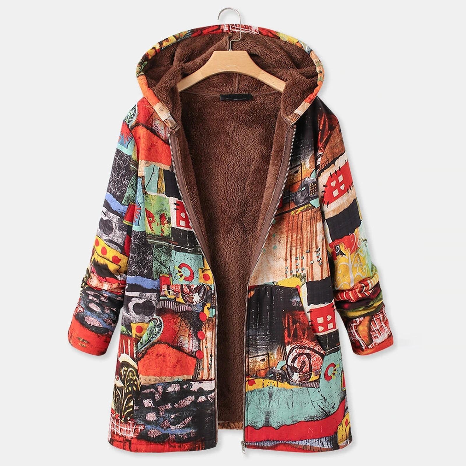 Abrigo con capucha de Cachemira para Mujer, chaqueta gruesa de manga larga,...