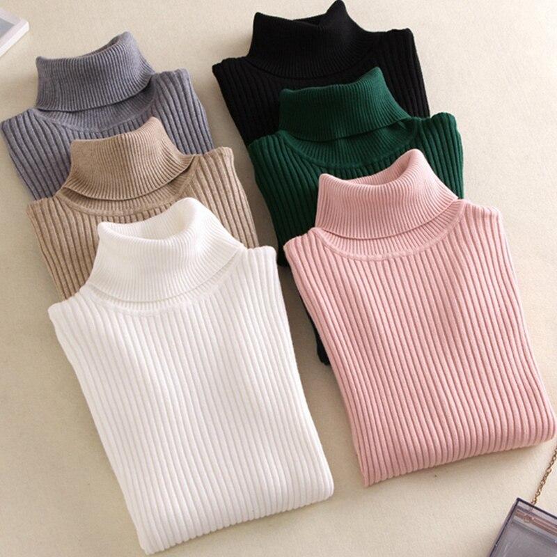 À venda 2019 outono inverno feminino malha gola alta camisola casual macio polo-pescoço jumper moda magro femme elasticidade pullovers