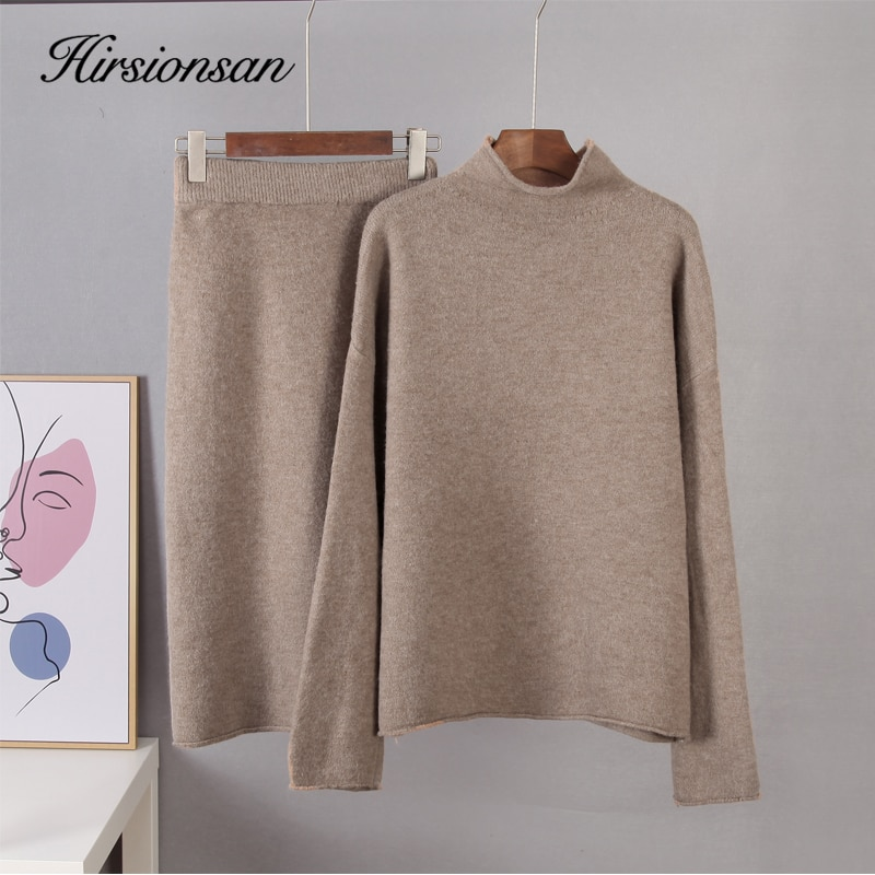 Hirsionsan Elegant Knitted Sweater Skirt Suits Women Soft Sexy Female Sets 2 Pieces Slim Fit Skirt and Loose Tops Ladies Ourfits