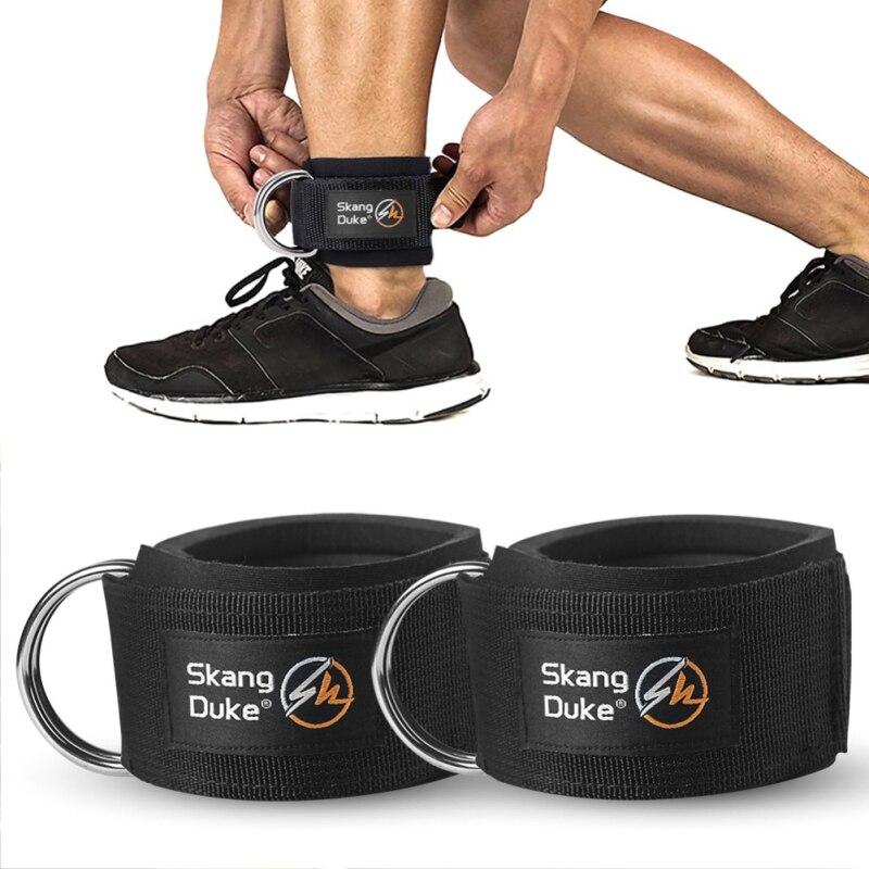 Cinturón de tobillo de pierna del muslo de levantamiento de pesas de gimnasio de la hebilla de la correa del tobillo del anillo D de la banda de resistencia de construcción del cuerpo