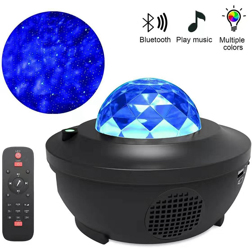 Romantic Colorful Starry Sky Ocean Projector Night Light  Remote Control Ocean Wave Projection Lamp with Bluetooth Music Speaker enlarge