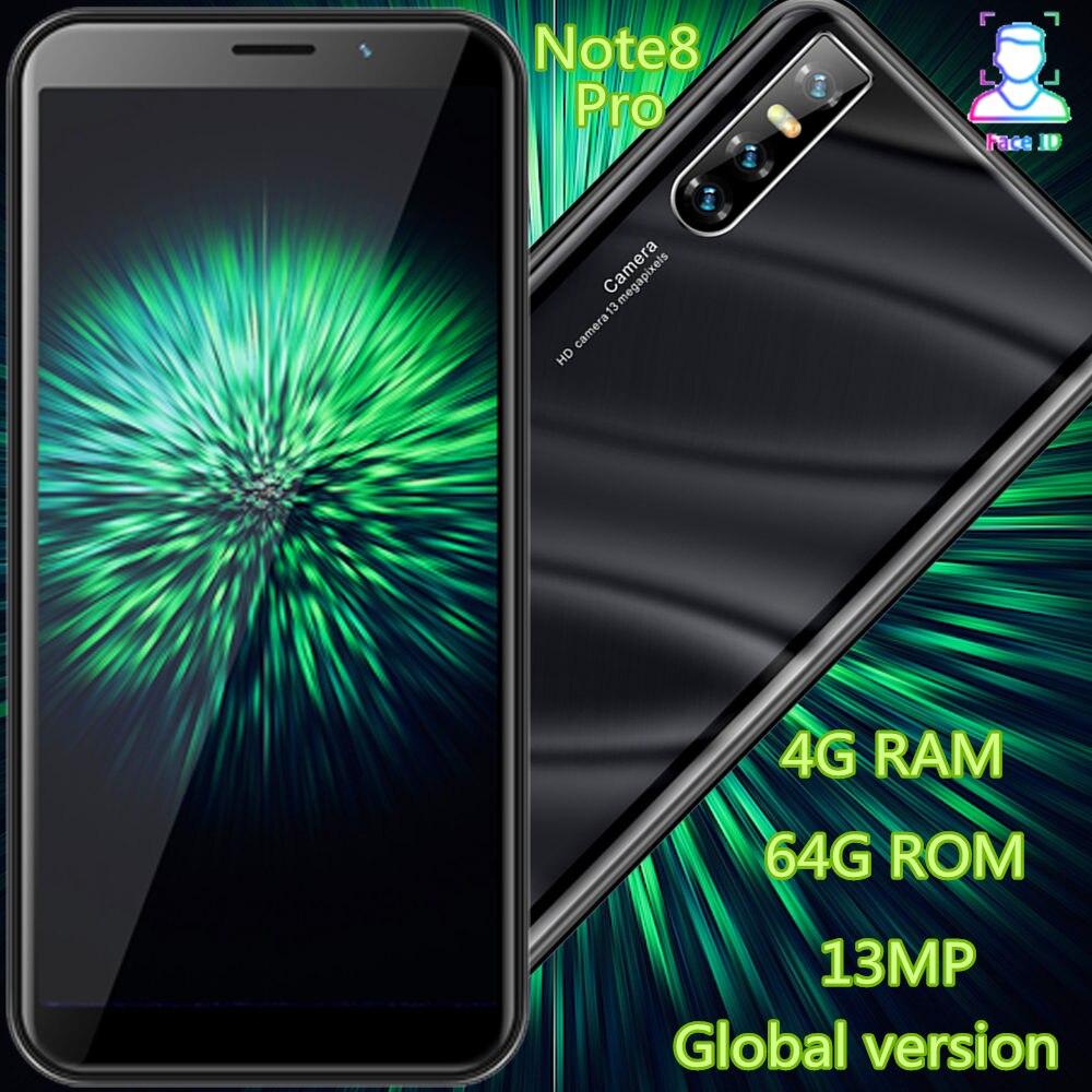 "Note8 Pro smartphones 4G RAM 64G ROM quad core 13MP 6.0 ""189 günstige celulares Gesicht ID entsperrt WCDMA Android handys 3G"