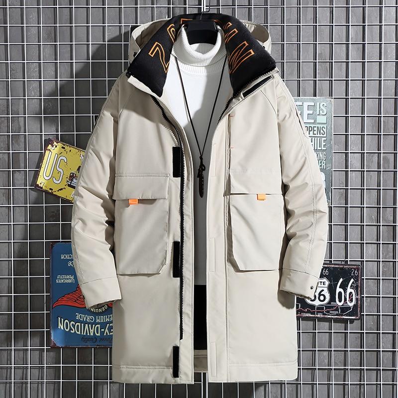 Зимняя Рабочая куртка 2021 tiktok, Мужская Длинная утепленная модная зимняя теплая куртка в новом стиле, брендовая куртка с капюшоном