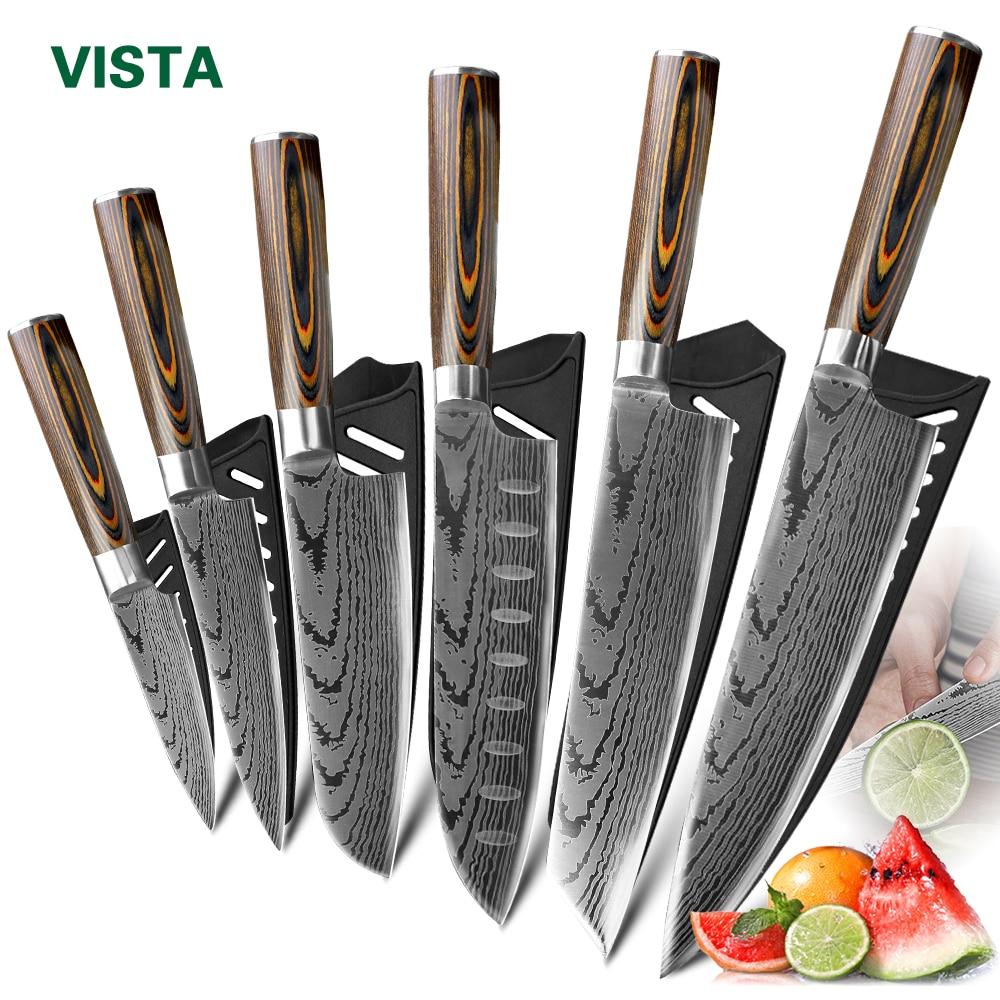 Кухонный нож шеф-повара ножи японский 7CR17 440C из высокоуглеродистой нержавеющей стали имитация дамасский шлифовальный лазерный нож