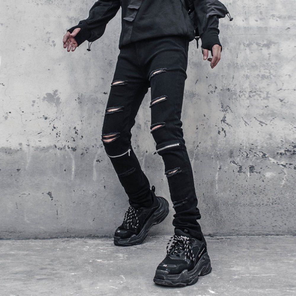 الهيب هوب عادية ممزق سروال شكل قلم رصاص الرجال الشارع الشهير Sweatpants Harajuku البضائع السراويل التكتيكية ركض السراويل بنطلون Techwear الأسود