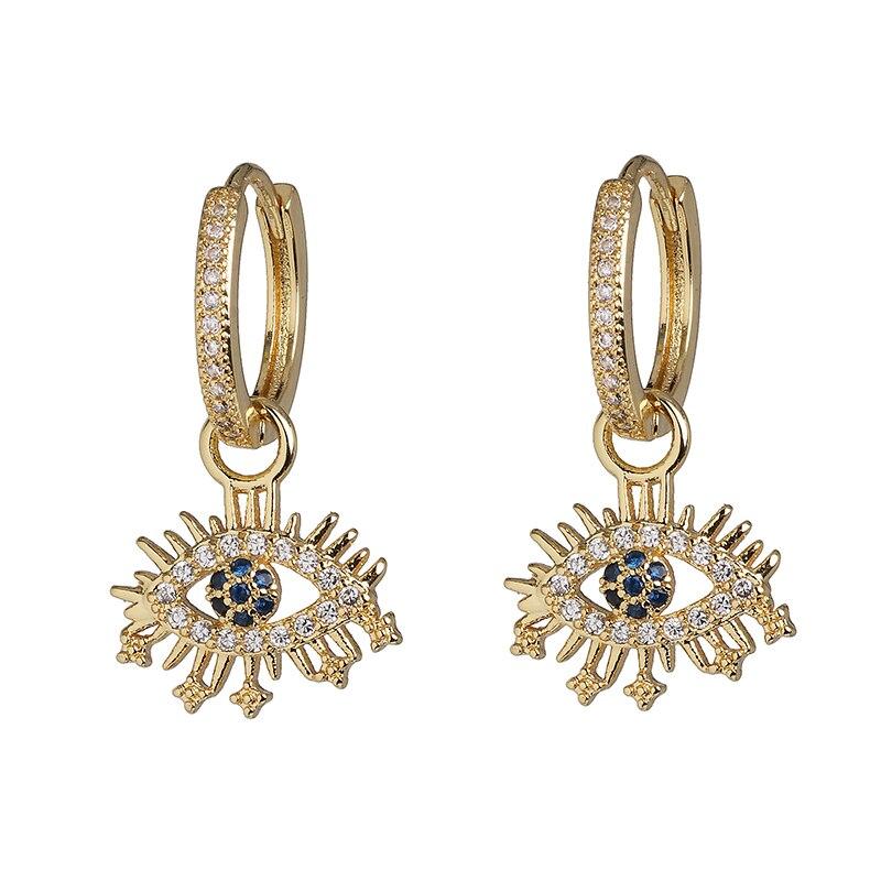 Juran kreatywny Design Vintage Evil kształt oka wisiorek kolczyki dla kobiet moda biżuteria podkreślająca osobowość akcesoria ślubne prezenty