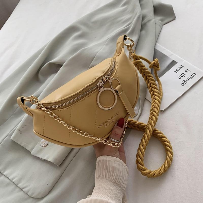 Bolso bandolera para mujer, con cremallera, cadena de correas giratorias, bolso femenino pequeño de piel sintética, bolso de pecho para Cartera de diario, bolso puro