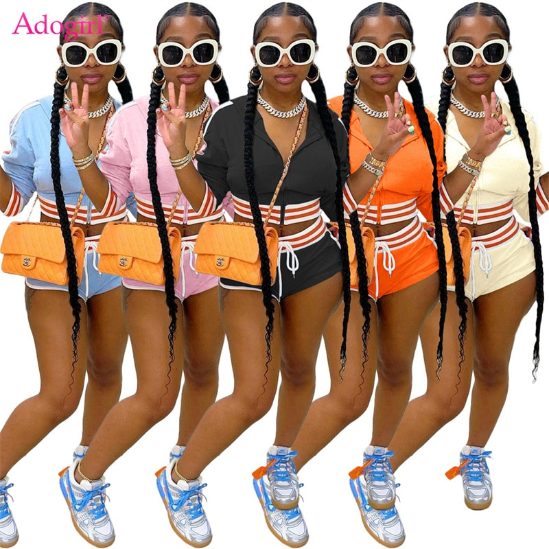 Adogirl Women Fashion Tracksuit Striped Patchwork Zipper Long Sleeve Sweatshirt Crop Top Hollow Out Shorts Casual Two Piece Set