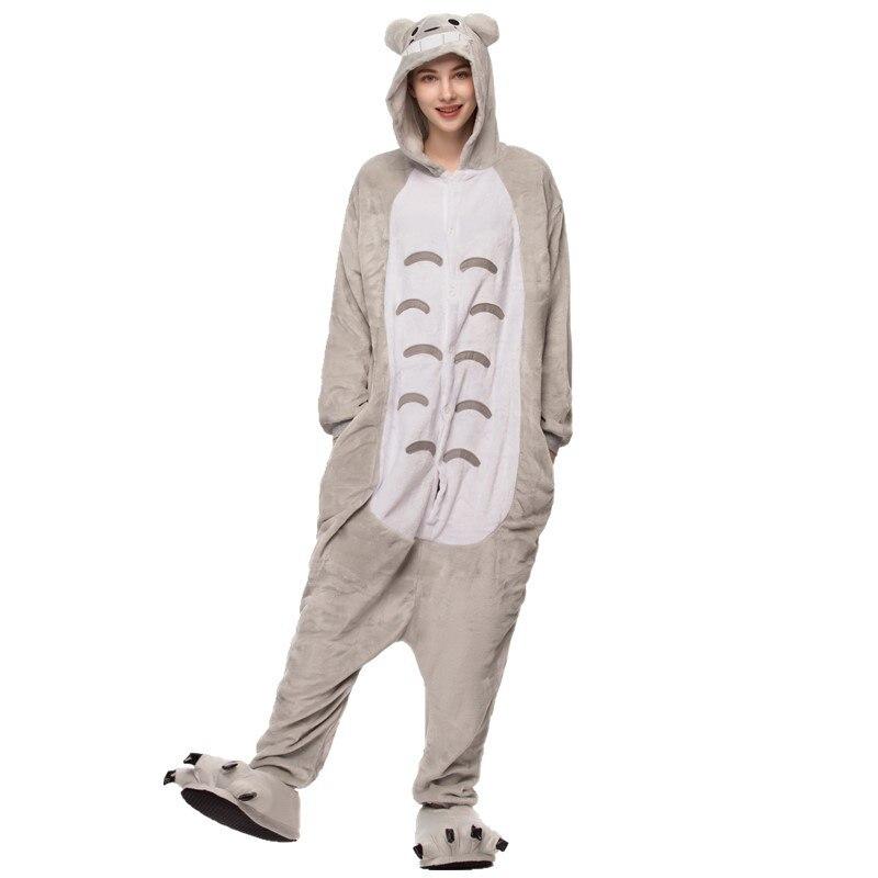 Животные, ролевые игры, Тоторо, пижамы для взрослых, Мультяшные животные, комбинезон для женщин, пара, зимние пижамы, Прошитые фланелевые мил...
