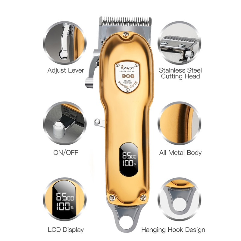 Professional barber LED hair trimmer all matel electric hair clipper rechargeable man haircut machine men beard Men's trimmer enlarge
