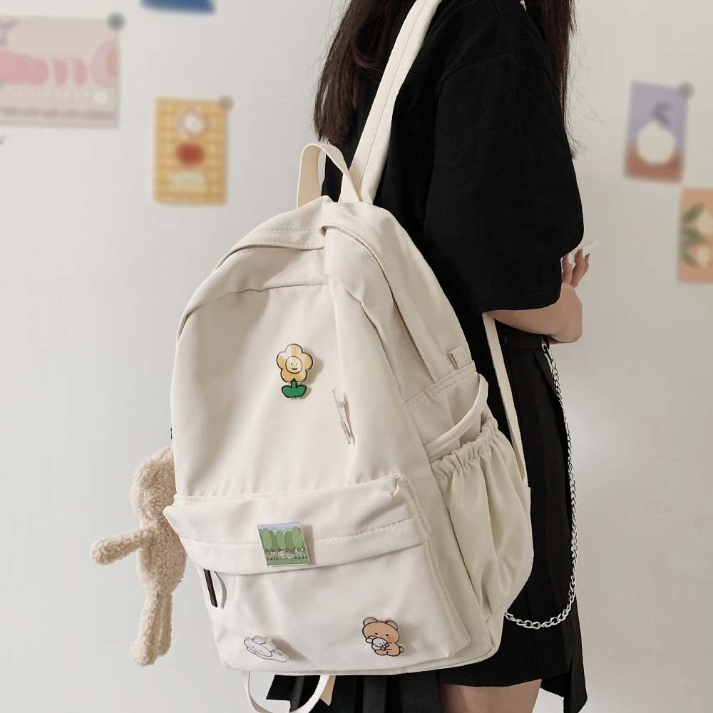 Women Nylon Cute Backpack Bear Female Student College School Bag Badge Girl Doll Backpack Kawaii Boo