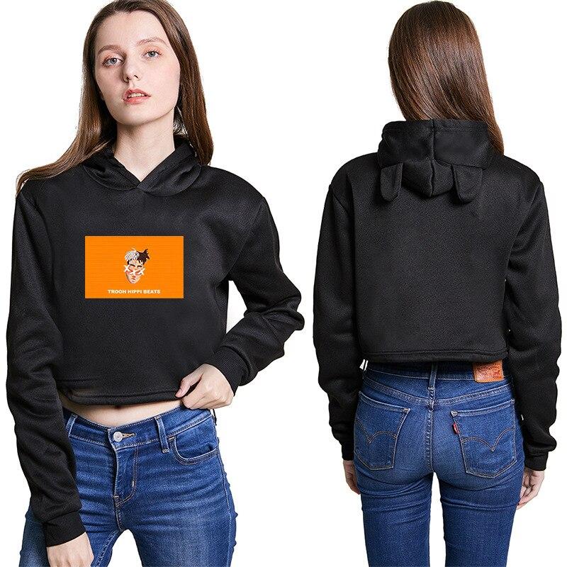 Повседневные Черные белые женские толстовки с принтом для девочек и свитшот с длинным рукавом Короткие толстовки с капюшоном пуловер оверс...