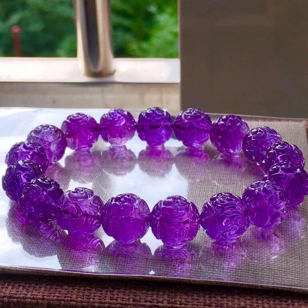 Genuino Natural púrpura amatista cristal de cuarzo tallado claro cuentas redondas pulsera 12mm mujeres hombres regalo piedra curativa AAAAA
