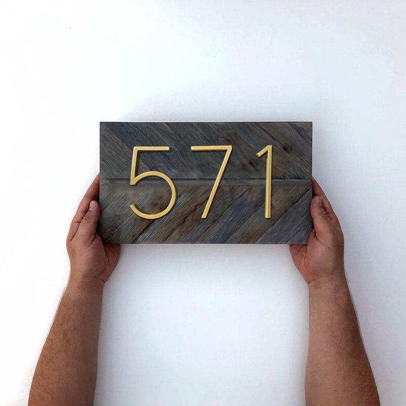 Купить с кэшбэком 125mm Golden Floating Modern House Number Satin Brass Door Home Address Numbers for House Digital Outdoor Sign Plates 5 In. #0-9