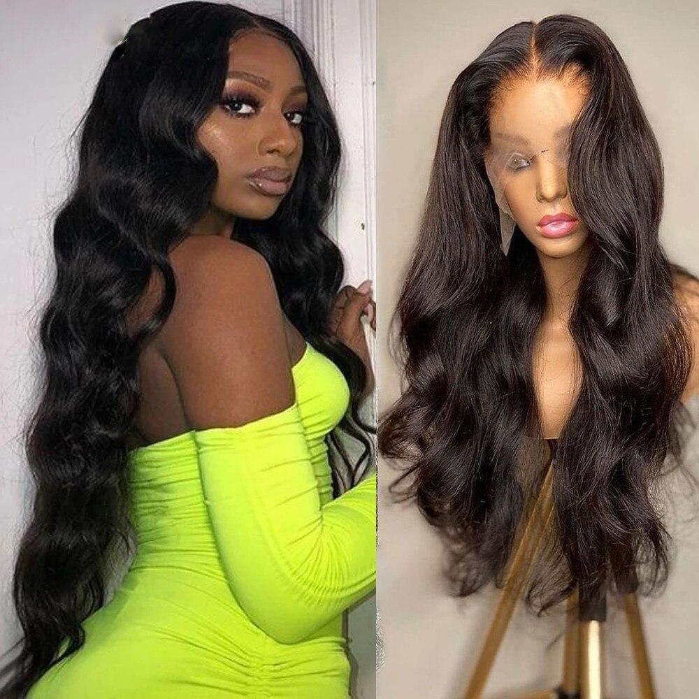Прозрачные синтетические волосы на сетке, черные волнистые передние парики на сетке для черных женщин, цветные термостойкие парики для вол...