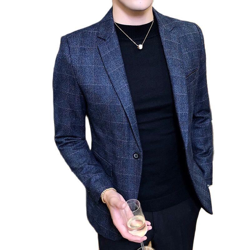 Blazer Vintage a cuadros para Hombre, chaqueta masculina con estilo británico, informal,...