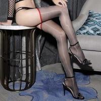 1d woman ultra thin sexy oil shinny backline stockings transparent seamed thigh high medias women nylon shine stockings