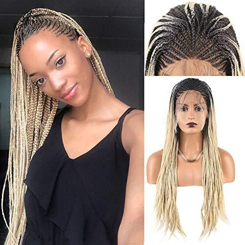 RONGDUOYI Long Hair Braided Box Braids Wigs for Women High Temperature Synthetic Lace Front Wig Ombre Hair Blonde Wig Lace Wigs
