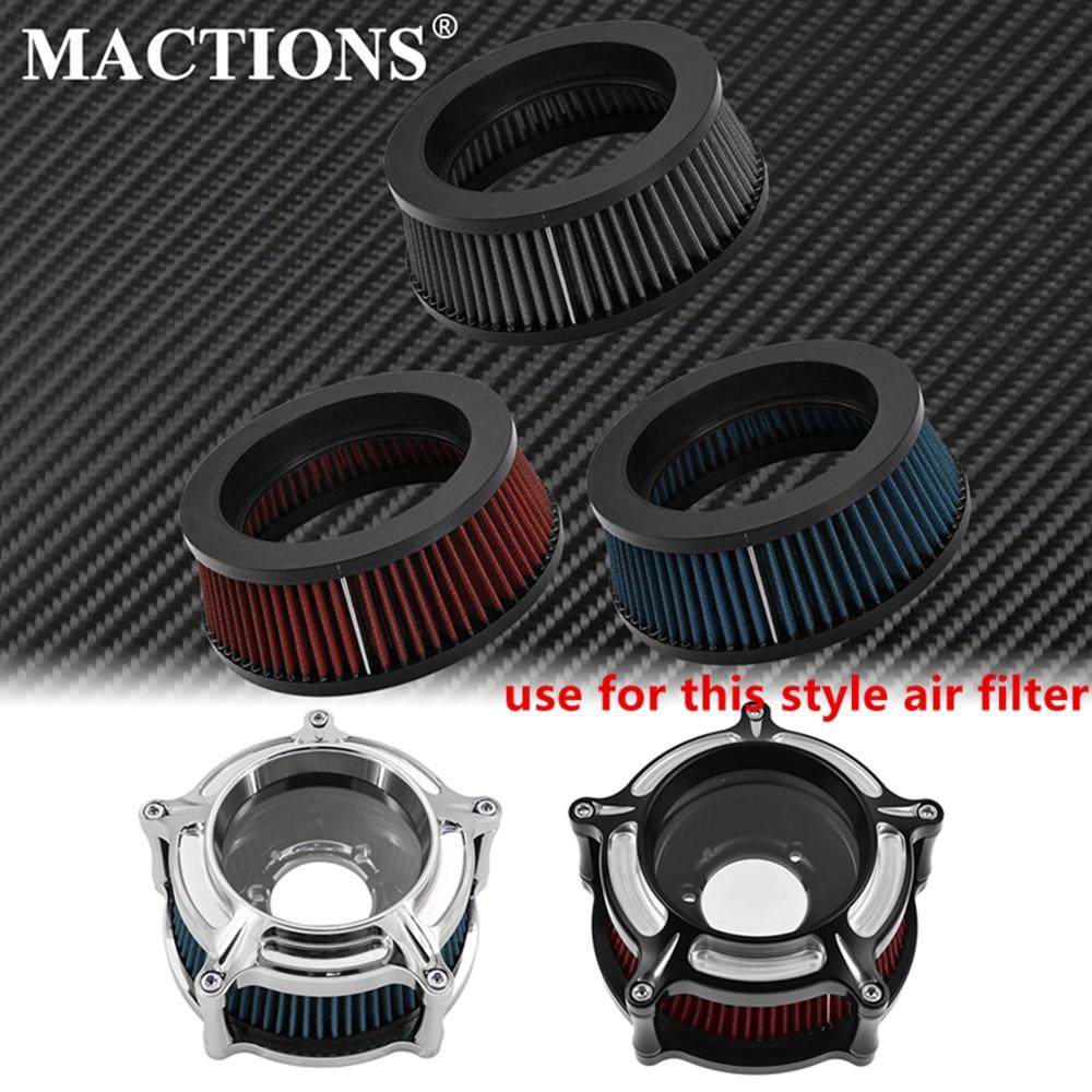 Sistema de limpiador de filtro de aire gris/rojo/azul para motocicleta reemplazo de elemento interno para Harley Sportster XL Touring FLHR Dyna Softail