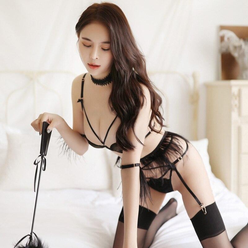 Transparente sedutor sexy roupa interior conjunto bralette briefs roupas femininas lingerie sexy intimate fio de renda sutiã calcinha liga cinto